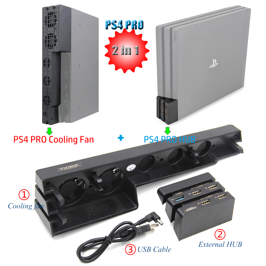 2 in 1 PS4 PRO Mulitfunction Cooler Cooling Fan & 5 External USB HUB for Sony Playstation 4 PS4 Pro