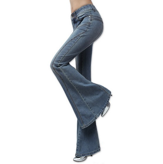 e69294b0ae544 Women s Wide Leg Jeans With High Waist Ladies Vintage Bell Bottom Jeans  Long Button Fly Girl Bootcut Big Flare Jeans Blue