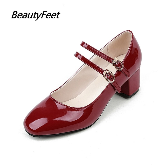 2017 Spring Women Shoes Woman Pumps Female Square Head Word Buckle Retro Ladies  Shoes Solid College Style Students Casual Shoes da580885ad4f