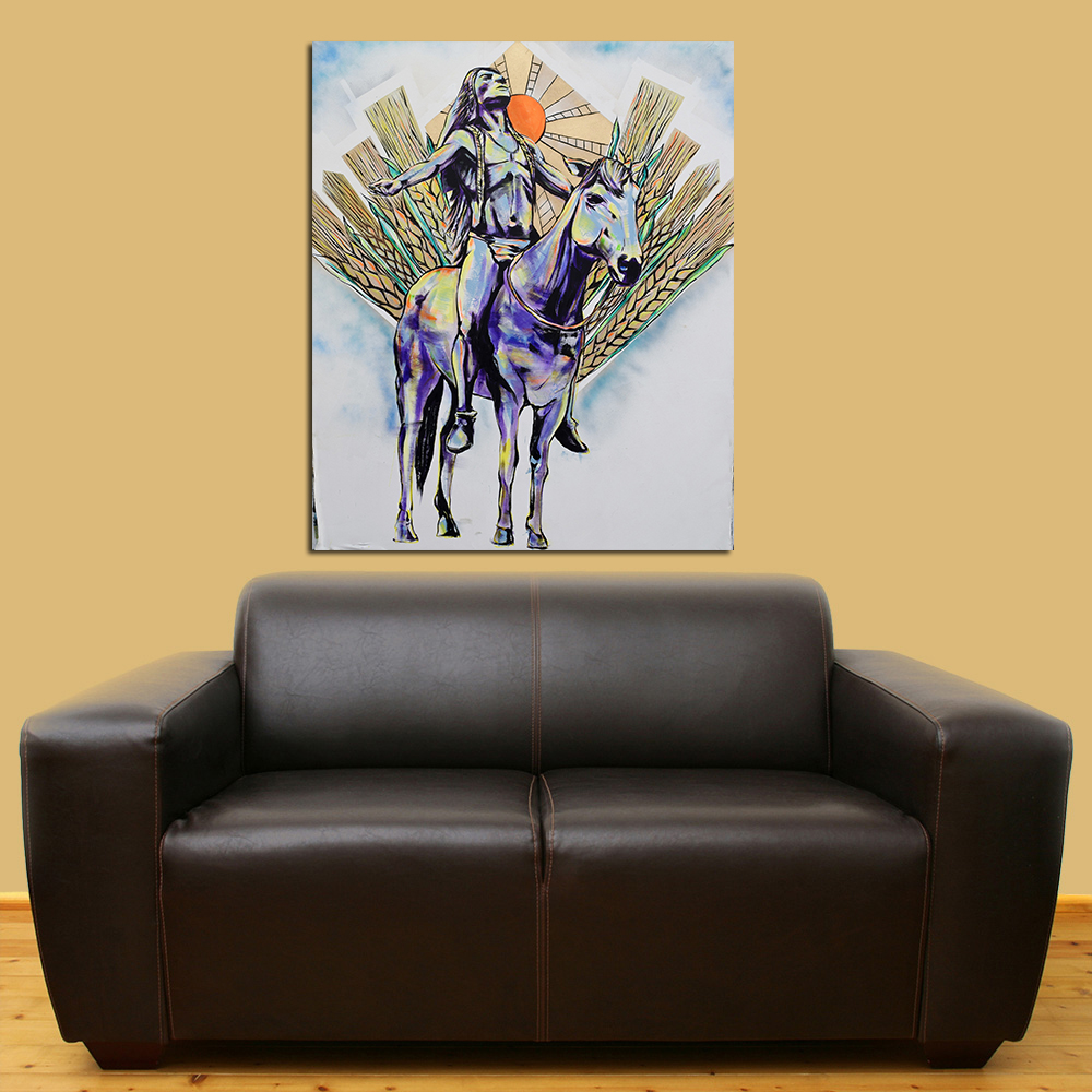 QKART Wall art Home Decor Horse with Indian Man Oil Paintings on ...