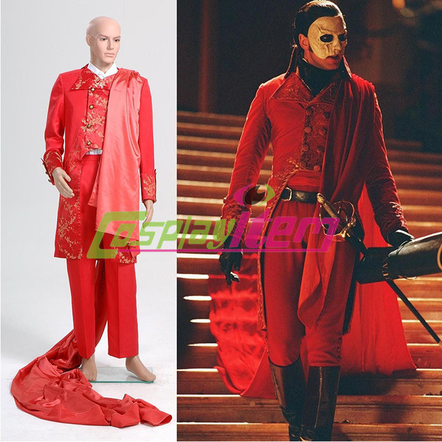2c20a600915f9 Customized movie The Phantom of the Opera Cosplay Deluxe Red Suit Adult Men  Masquerade Party Haloween Cospaly Costume