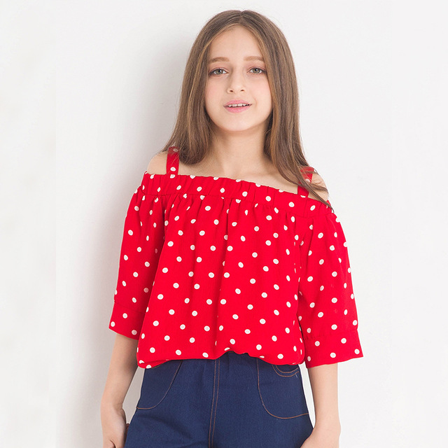 ef0ea4f5807b4d 2018 Cute Girls Summer Red Polka Dot Blouse Off the Shoulder Blouses  Children s Clothing Half Sleeve