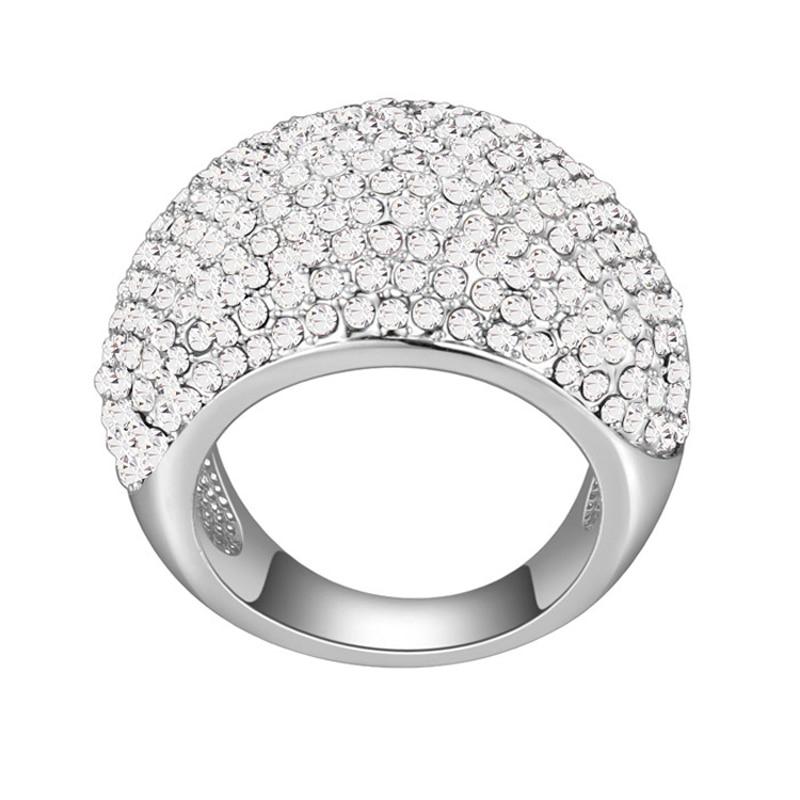 Хрустальные кольца для женщин Свадебное Ювелирное кольцо белого золота цвета Разноцветные кристаллы ювелирные изделия Рождественский подарок