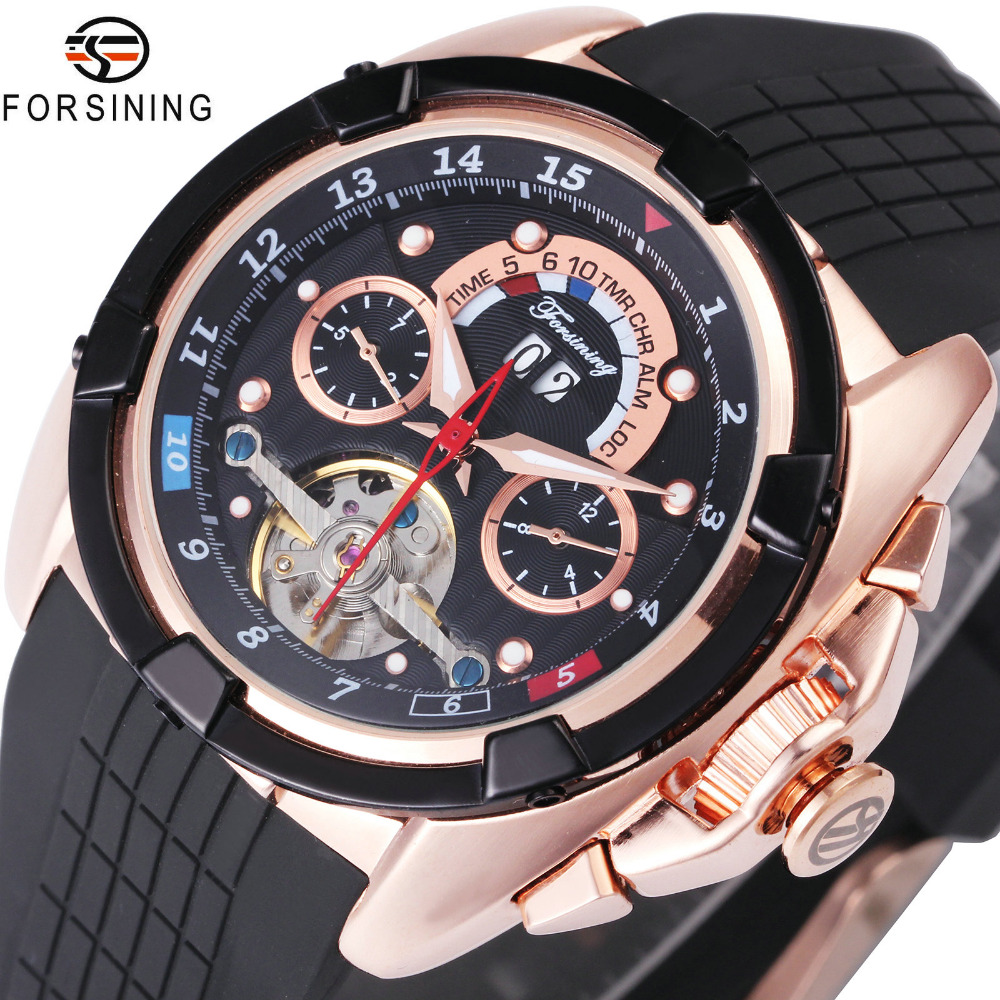 FORSINING Fashion Sport Tourbillon Watches Men 2018 Top Brand Luxury Calendar Dial Silicone Strap Men Auto Mechanical Watches