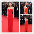 Sexy Natalie Portman Red Straight Strapless Celebrity Dress Cannes Festival 2015 Low Back Evening Gowns Evening Dresses CD17
