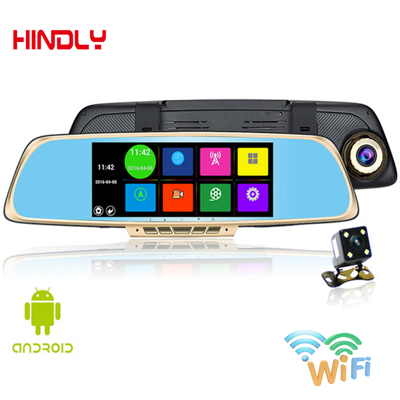 Hot 6.86 Inch Car DVR Touch Screen GPS Navigator 1GB and 16GB Android GPS Navigation Mirror Car DVR Dual Lens Rear Parking WiFi