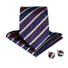 DiBanGu Classical Striped Mens Big Size Ties With Hanky Cufflinks 160CM Length Silk Neck Set For Wedding MJ-7527