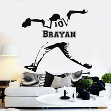 Custom Baseball player Personalised Name and number wall sticker living Room bedroom vinyl DIY decal home decor mural G840