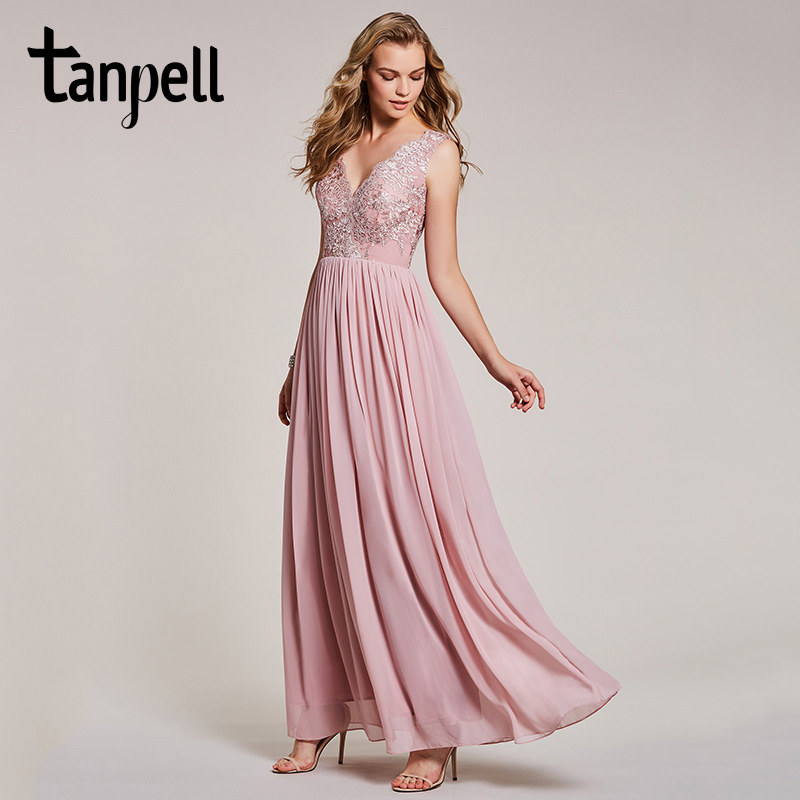 f92b0dfd61 US $48.17 44% OFF|Tanpell v neck lace evening dress pearl pink sleeveless  appliques a line floor length dresses women prom party long evening gown-in  ...