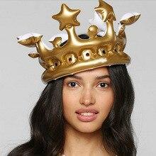 Костюм Косплей надувная Золотая Корона Дети День рождения шапка инструмент для сцены реквизит подарок вечерние шары Король Королева день Хэллоуин Декор