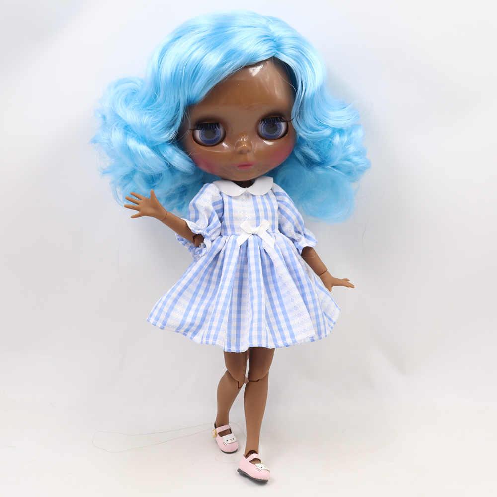 Blyth Telanjang Doll Super Hitam Gelap Warna Kulit 30 Cm Baru Biru Pendek Keriting Rambut Sendi Tubuh Es SD Tinggi kualitas Hadiah Mainan