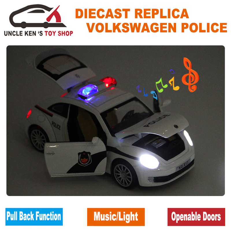 1:32 Scale 15CM Length Diecast Model Beetle Police Cars Toys For Boys As Present With Openable Doors/Pull Back Function/Music