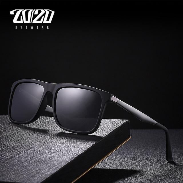 20 20 Marca Clássico Óculos Polarizados Homens Quadrado Preto Quadro Óculos  Masculinos Óculos de Sol f572450c16