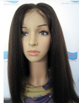 """100% Indian Hair Lace Wig Kinky Straight #1b Natural Black Front Lace Wig Baby Hair On sale Wholesale Best 8""""-24"""""""