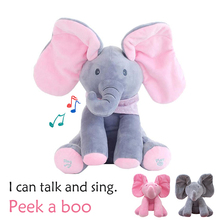 Talking Toy Doll Peek Boo Elephant Electric Stuffed Animals Plush Musical Doll Toy for Children Baby Birthday Gift