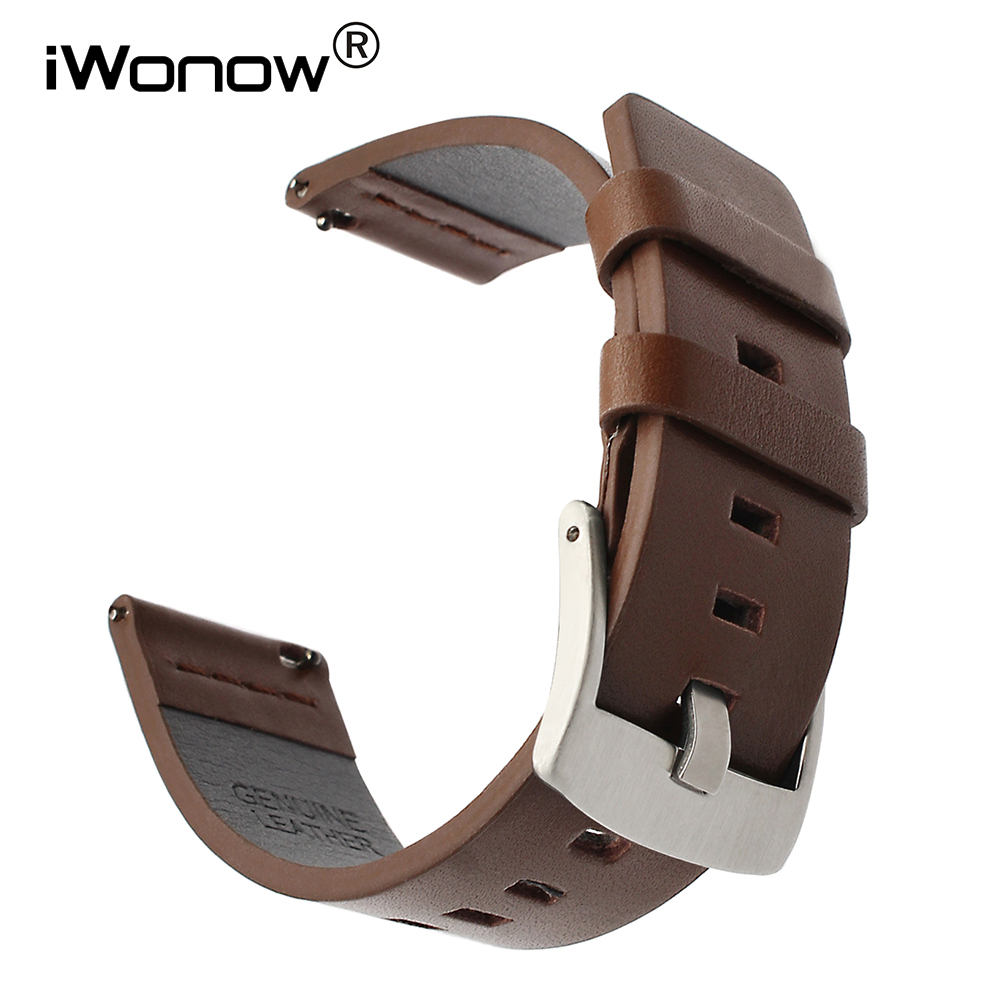 цена на 18mm Italian Oily Leather Watchband for Withings Activite / Pop / Steel HR 36mm LG Watch Style Quick Release Band Wrist Strap