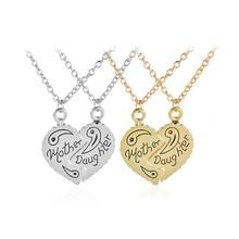 Мода день матери подарок ожерелье золото/серебряное сердце кулон творческий головоломки кулон ожерелье для женщин choker ожерелье мама подарок