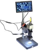 Industrial Microscope Camera BNC AV Output 800TVL 100X + 7 LCD Monitor + Stand Holder + C Mount Lens + 40 LED Ring Right