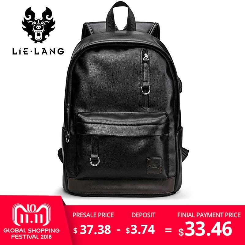 ed122ae63549 LIELANG Backpack Men Laptop Backpacks Leather External Usb Charge Antitheft  Backpack For Men Male Waterproof Bag