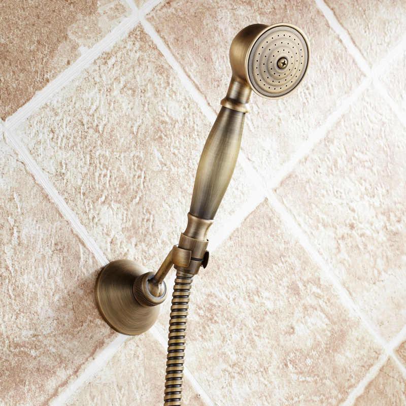 Küvet Musluk Pirinç 2 Fonksiyonlu Çıkış Duvara Monte Banyo Duş Bataryası Seti Ile duş başlığı Kafa musluk bataryası Antik Bronz