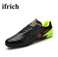 Ifrich New Football Turf Shoes Leather Soccer Shoes Indoor Size 37 44 Indoor Soccer Sneakers Training