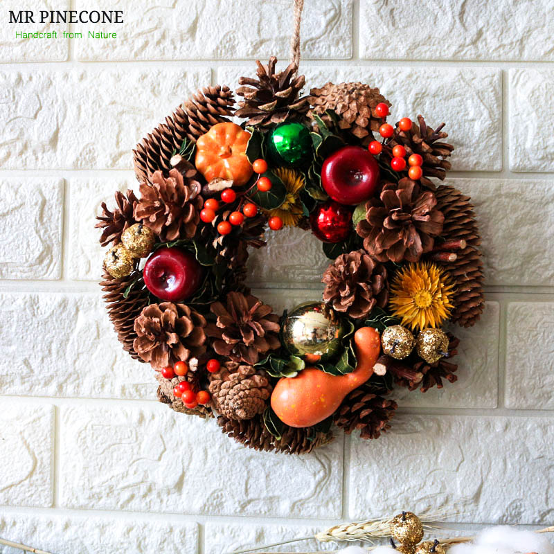Holiday Autumn Candel Holder Harvest Pumpkin Door Wreaths Ornament Berry Rustic Farmhouse Thanksgiving Home Decoration