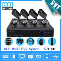 HMDI 1080 p thuis 8 kanaals 960 h beveiliging 3g nvr video surveillance cctv-systeem met IR indoor outdoor camera dvr kit 8ch SK-063