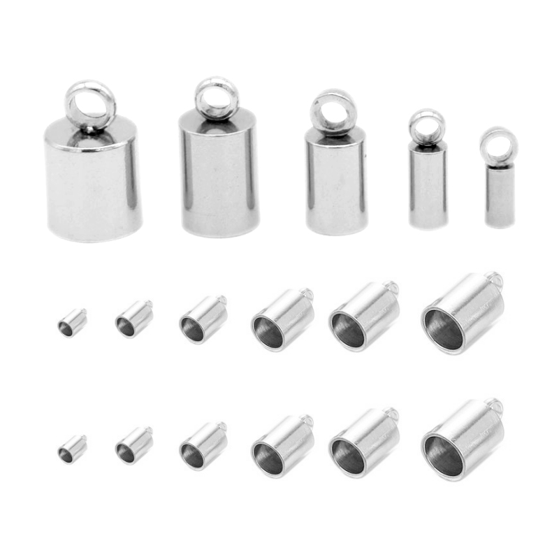 20pcs Multiple Choices Stainless Steel End Caps For Leather Cord Necklace Bracelet Tassel Cap Connectors For DIY Jewelry Making