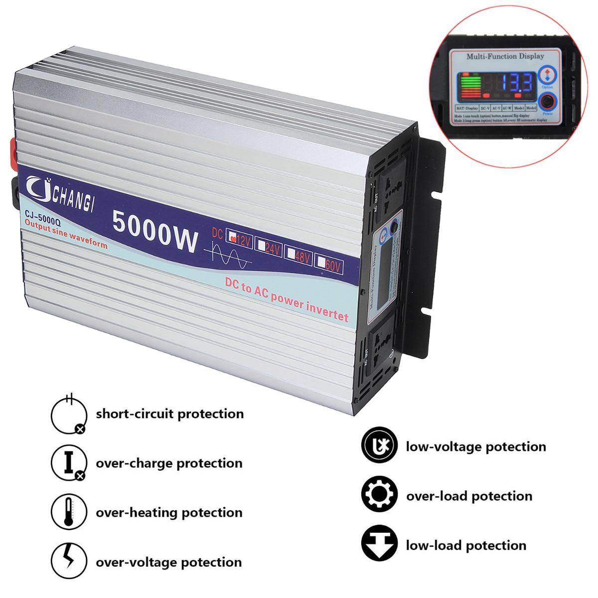 Écran Intelligent pur onduleur à onde sinusoïdale 12 V/24 V à 220 V 3000 W/4000 W/5000 W/6000 W convertisseur adaptateur écran LCD - 3