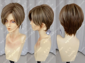 Image 4 - Movie Biohazard Leon Scott Kennedy Short Brown Color Highlights Styled Heat Resistant Hair Cosplay Costume Wig + Free Wig Cap