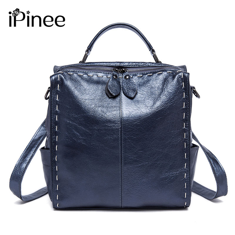 iPinee Genuine Leather Backpack Women Designer Bags High Quality Shoulder Bags New School Bags For Teenagers Girls sac a dos new fashion backpack designer brands 2017 leather backpacks women school bags for teenagers girl gold travel packbag sac a main