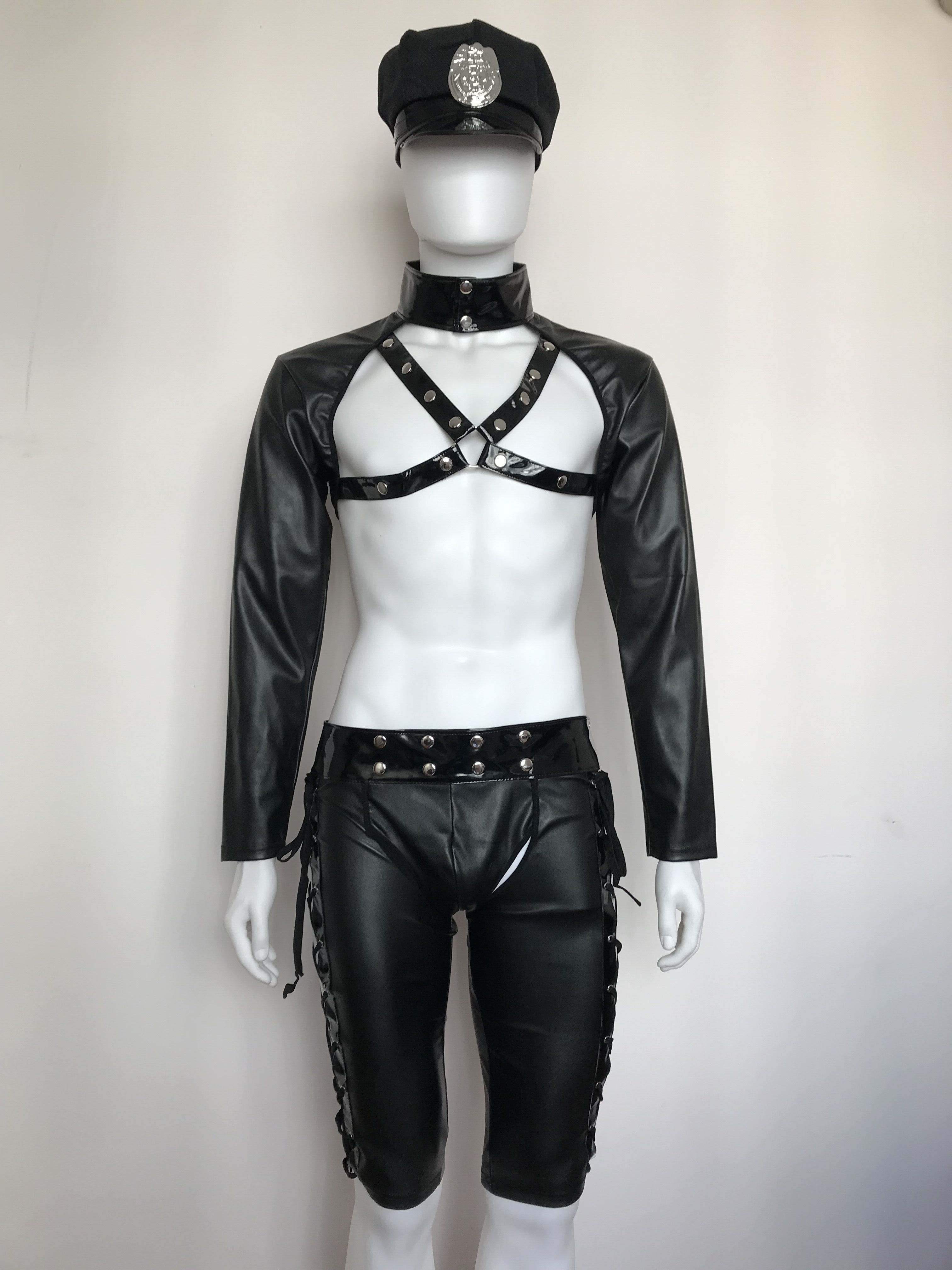 Hot Erotic Men Sexy Fancy Cops PU Leather Halloween Costume Police UniformsCostumes Sexy Police Officer Cosplay Costume