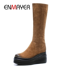 ENMAYER New Style women round toe solid mid-calf flat with platform boots lady fashion Size 34-39 ZYL800