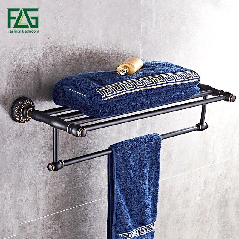 FLG Baked black paint Space aluminuml Wall Mount Aluminum Bathroom Accessories Towel Rack Black fixed bath towel rack