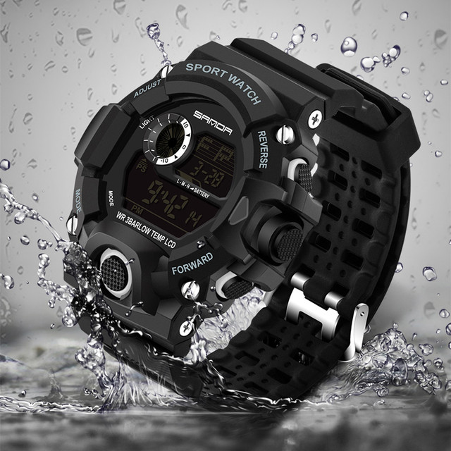 SANDA Brand Watch Men Military Sports Watches Fashion Silicone Waterproof LED Di