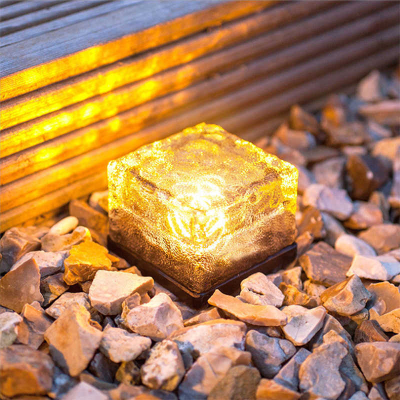 Solar Power Clear Glass Ice Rock Brick Light LED Lawn buried light for Outdoor Garden Decoration square floor light