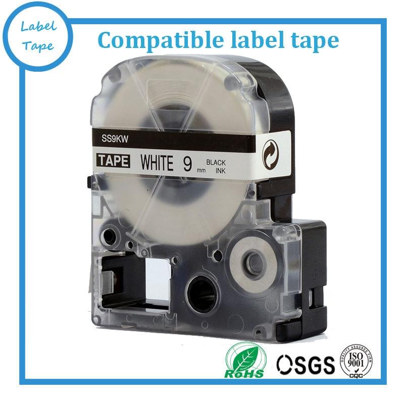 9 mm zwart op witte tepra-etiketband SS9KW voor KINGJIM-printer Tepra - Office-elektronica