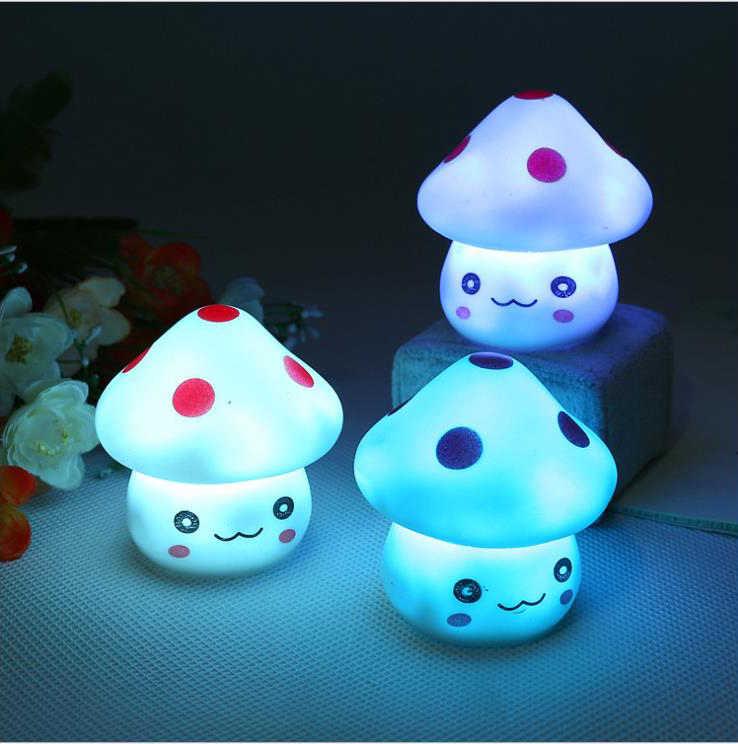 רומנטי צבעוני פטריות חג המולד LED לילה אור מנורת ילד חדר שינה שולחן ליד מיטת מנורת עבור תינוק ילדים צעצוע מתנה דקור Dropship