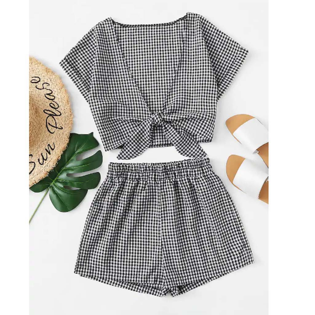 Fashion summer style suit set women outfits  Women Printed Short Sleeve Bandage V-Neck Blouse+Shorts Hot Pants Set#G