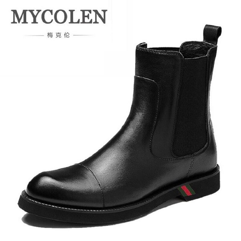 MYCOLEN Winter Autumn Genuine Leather Vintage Motorcycle Boots Men Shoes British Fashion Men Snow Martin Boots Sapato Masculino men leather martin boots chelsea winter british retro men shoes zipper leather shoes breathable fashion boots