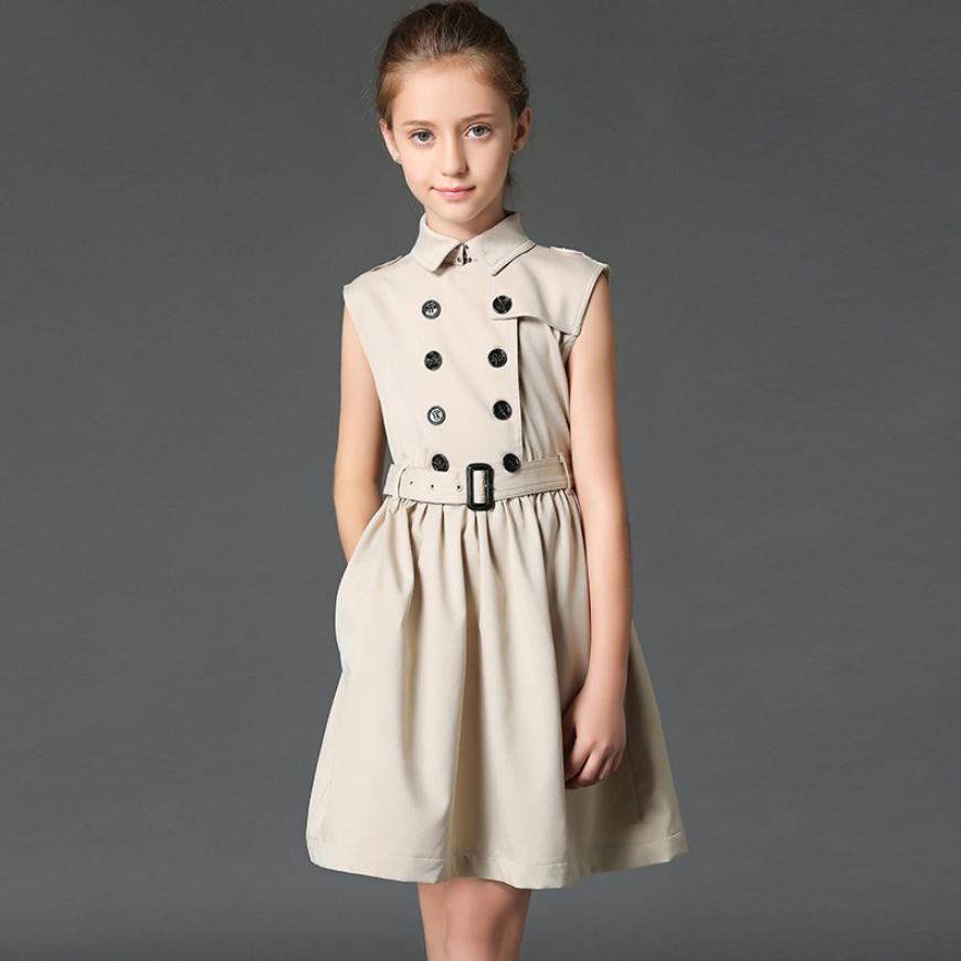 HIght-end Baby Girls Dress 2019 Summer New Children Sleeveless Double-breasted Princess Dress Cotton England Style Vestido Y1022HIght-end Baby Girls Dress 2019 Summer New Children Sleeveless Double-breasted Princess Dress Cotton England Style Vestido Y1022