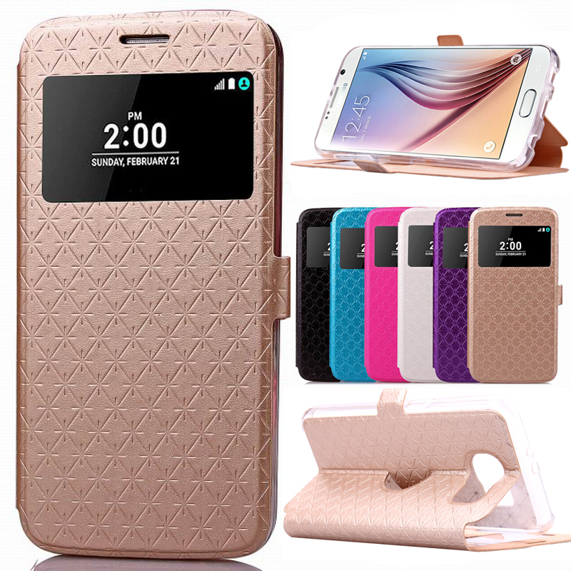 LOVECOM For Samsung S8 Plus S6 S7 Edge A3 A5 J5 J7 (2016)(2017) Plaid Leather Card Stand Magnetic Flip Window Wallet Phone Case