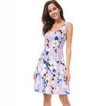 New Fashion Summer Sweet Style 2019 Women Dress Sleeveless Tank Floral Print Dress Sexy Beach Dresses Vestidos Cotton Dress floral print tank dress