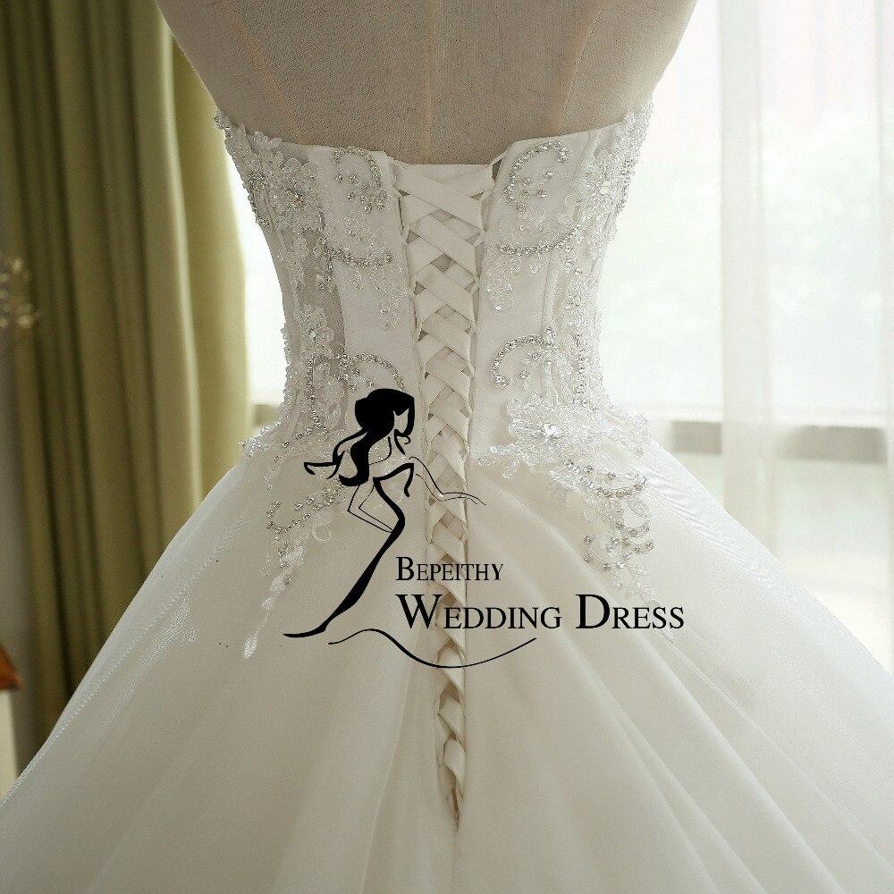 BEPEITHY Sexy Sheer Lace Crystal Ball Gown Wedding Dress Casamento Sweetheart Vintage Princess Bridal Dresses Vestido De Novia