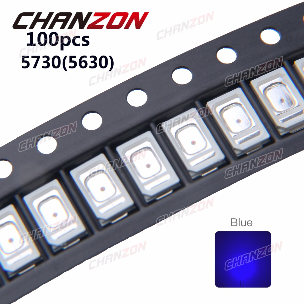 100pcs SMD 5730 5630 <font><b>LED</b></font> Chip Blue 0.2W Ultra Bright 460-<font><b>470nm</b></font> 60mA 3V <font><b>LED</b></font> Light Emitting Diode Lamp 0.2 W Surface Mount Beads image