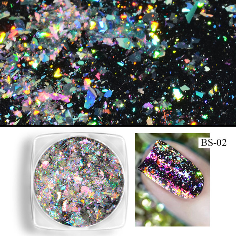 1 Box Chameleon Flakes Shimmer Galaxy Nail Glitter Dust: Aliexpress.com : Buy 1 Box Aurora Nail Flakies Super Bling