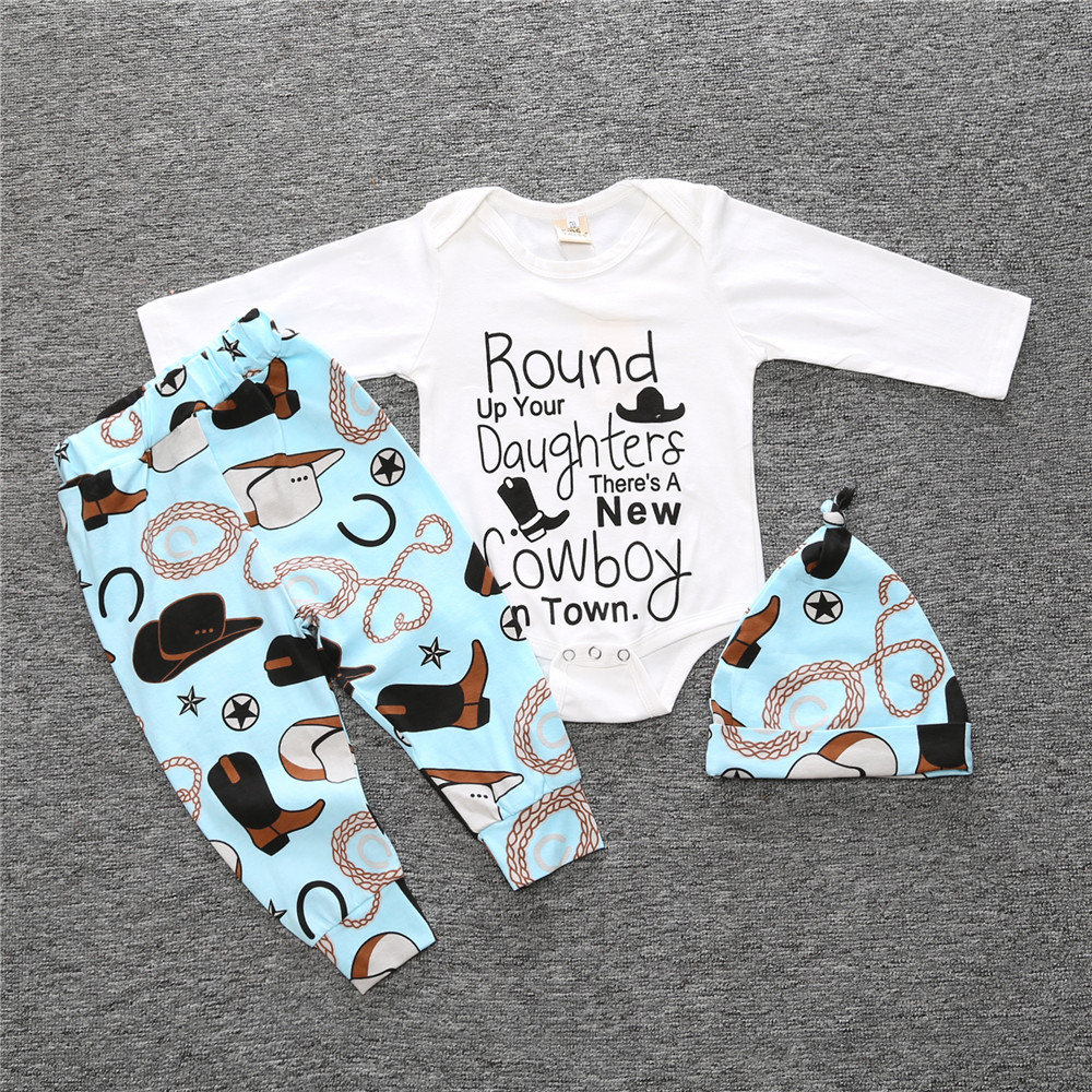 2016 baby boy clothing set cotton long-sleeved romper + hat + trousers three-piece suit bear fashion baby girl clothes newborn