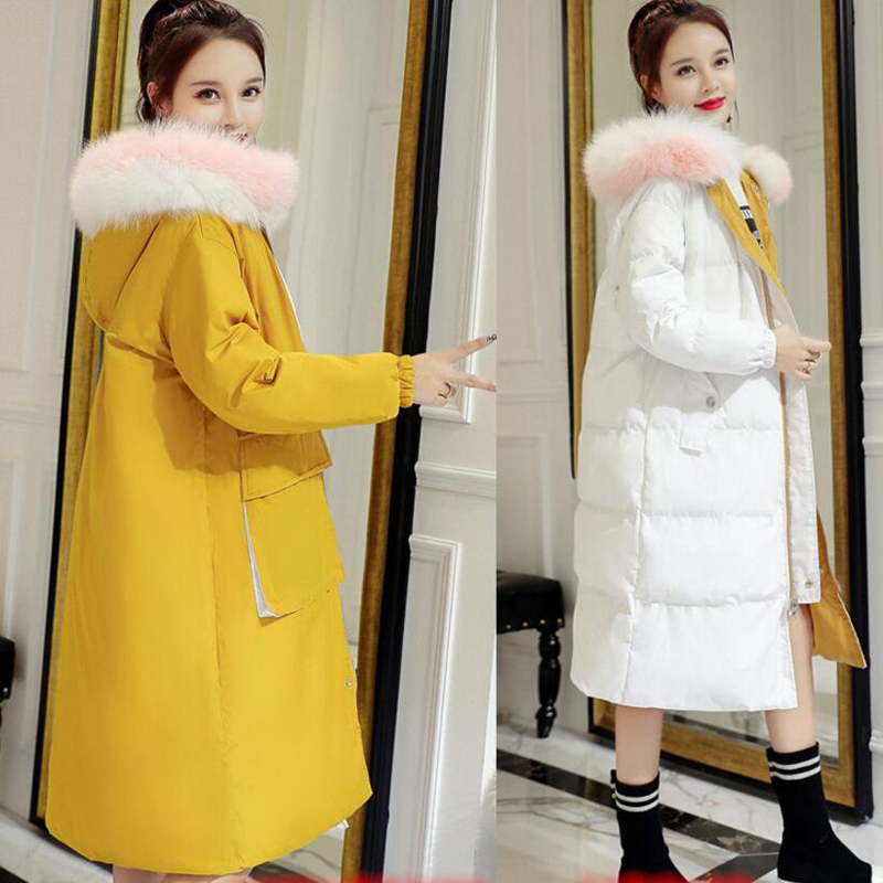 Both Sides Wear Women Long Winter Jacket Thicken Warm White Duck   Down     Coat   Women Winter Fur Collar Hooded Outwear   Coat   YP1231