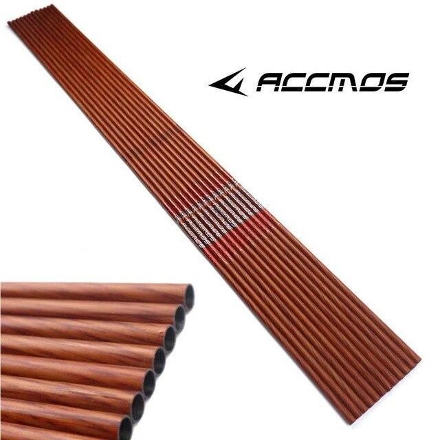 32 zoll Wirbelsäule 400 450 500 600 Carbon Pfeil Welle mit Holz Farbe ID 6,2mm Holz Haut Carbon Pfeil für Jagd