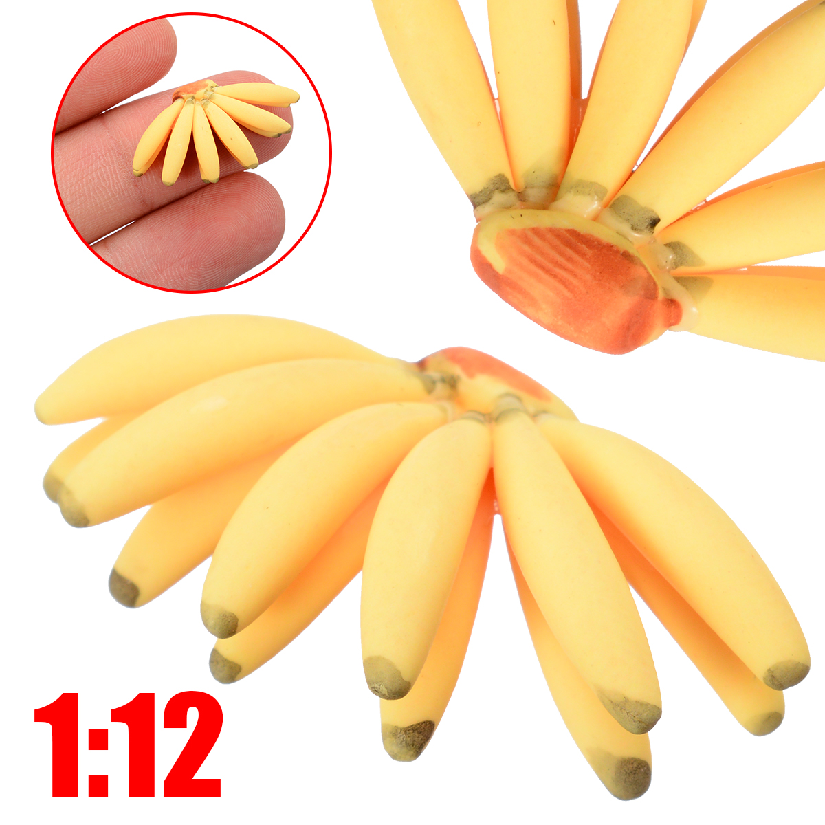 5Pcs/set Miniature Food Fruit Banana For 1:12 Dollhouse Miniature Bunch Of Banana Kitchen Food Fruit Accessories Decor